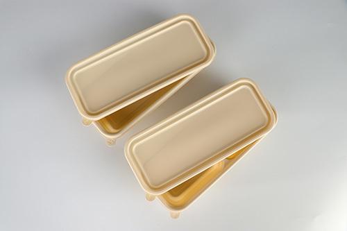 Long strip two lattice biodegradable lunch box