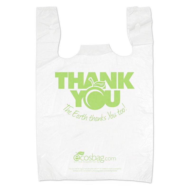 Fully biodegradable vest shopping bag - light green