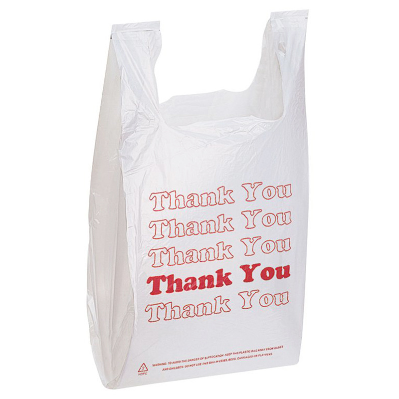 Fully biodegradable vest shopping bag - red