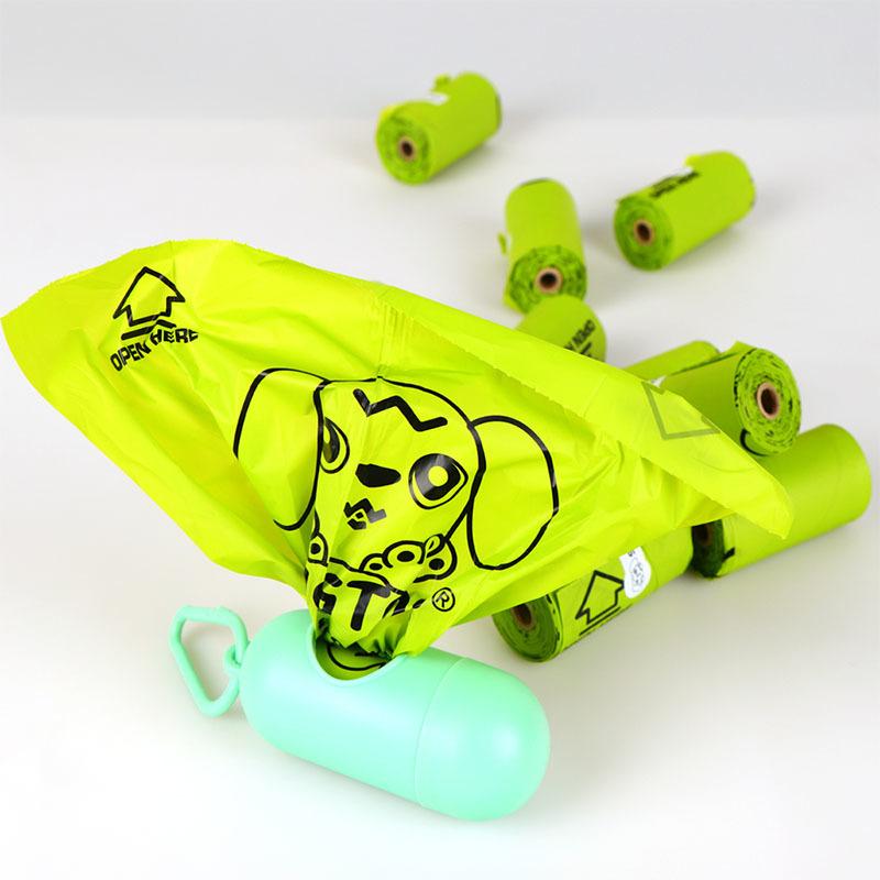 Light green biodegradable pet bag (flat mouth type)