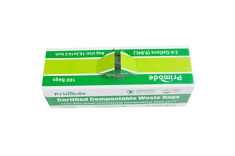 Biodegradable boxed style degradable bag